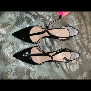 Vince Camuto t strap black patent leather pumps
